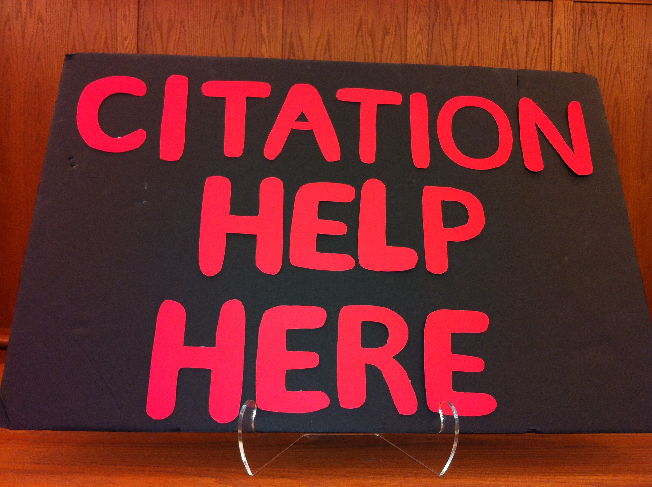 Come to the Reference desk for Citation Assistance