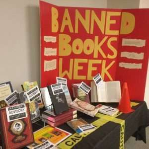Banned Books Display on Lower Level of Library