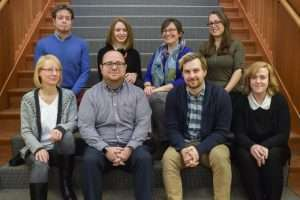 The reference librarian team. Top left to right: Curtis, Barbara, Christina, Lisa. Bottom left to right: Elise, Matt S., Mat B., Emily